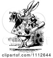 Clipart The White Rabbit Servant Tooting A Horn And Holding A Notice In Wonderland Royalty Free Vector Illustration by Prawny Vintage