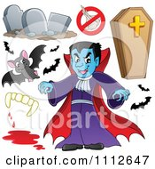 Clipart Halloween Bats Tombstones Coffin Vampire And Fangs Royalty Free Vector Illustration