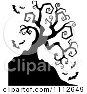 Clipart Spooky Bare Tree With Vampire Bats Royalty Free Vector Illustration