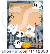 Clipart Halloween Parchment Sign Framed With Ghosts In A Cemetery Royalty Free Vector Illustration