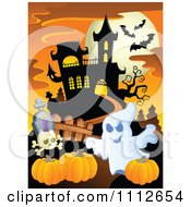 Clipart Ghost With Pumpkins In A Cemetery Near A Haunted House Royalty Free Vector Illustration