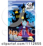 Clipart Vampire In A Cemetery Near A Haunted House Royalty Free Vector Illustration