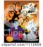 Clipart Full Moon Over A Vampire And Ghost In A Cemetery Royalty Free Vector Illustration