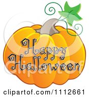 Clipart Happy Halloween Text On A Pumpkin Royalty Free Vector Illustration
