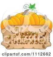 Clipart Parchment Happy Halloween Banner Under Three Pumpkins Royalty Free Vector Illustration