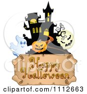 Clipart Haunted House With Bats A Pumpkin And Ghost Over A Happy Halloween Banner Royalty Free Vector Illustration