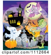 Clipart Zombie Ghost And Pumpkin In A Cemetery Near A Haunted House Royalty Free Vector Illustration