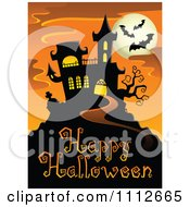 Clipart Haunted House With Bats And A Full Moon Over Happy Halloween Text Royalty Free Vector Illustration