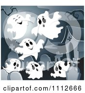Clipart Cemetery With Tombstones And Ghosts Under A Full Moon Royalty Free Vector Illustration