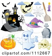 Clipart Halloween Haunted House Bats Spider Web Pumpkin Ghost Skull And Tombstone Royalty Free Vector Illustration by visekart