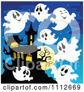 Clipart Spooky Ghosts Flying Around A Haunted House Royalty Free Vector Illustration by visekart