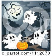 Clipart Cemetery With A Jackolantern Tombstones And Ghosts Under A Full Moon With Bats Royalty Free Vector Illustration