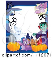 Clipart Halloween Fram With A Ghost Pumpkins Bats And Vampire In A Cemetery Royalty Free Vector Illustration
