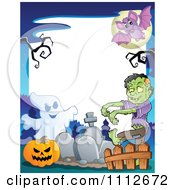 Clipart Halloween Fram With A Ghost Pumpkin And Zombie In A Cemetery Royalty Free Vector Illustration
