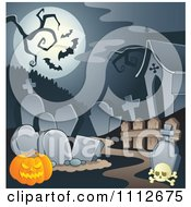 Clipart Cemetery With A Jackolantern Tombstones Under A Full Moon With Bats Royalty Free Vector Illustration