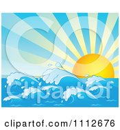 Clipart Sun Rising Over Ocean Waves Royalty Free Vector Illustration