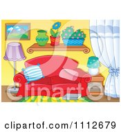 Clipart Red Couch In A Living Room With Plants On A Shelf Royalty Free Vector Illustration