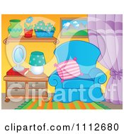 Clipart Blue Chair In A Living Room Royalty Free Vector Illustration
