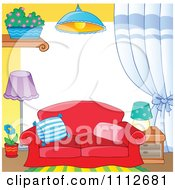 Clipart Frame Of A Couch And Household Items Royalty Free Vector Illustration