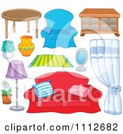 Clipart Table Lamps Rug Chair Drapes Mirror Couch And Potted Plant Royalty Free Vector Illustration