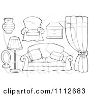 Clipart Outlined Vase Chair Table Curtains Couch Lamp And Mirror Royalty Free Vector Illustration
