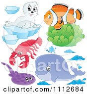 Clownfish Over Soft Corals With A Seal Lobster Flounder And Whale