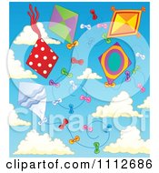 Clipart Kites Flying In A Cloudy Sky Royalty Free Vector Illustration by visekart