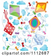 Clipart Kites Flying In A Sky With Clouds Royalty Free Vector Illustration by visekart