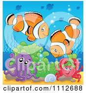 Clipart Clownfish Pair Over An Octopus And Crab In Soft Corals Royalty Free Vector Illustration by visekart