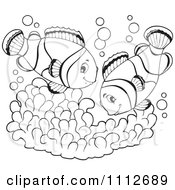 Clipart Outlined Clownfish Pair Over Soft Corals Royalty Free Vector Illustration