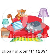 Clipart Cats Playing And Sleeping On A Sofa Royalty Free Vector Illustration by visekart