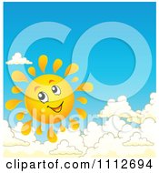 Clipart Happy Sun Smiling Above Clouds Royalty Free Vector Illustration