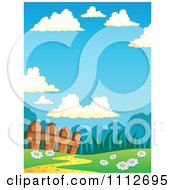 Clipart Wooden Fence Along A Path In A Spring Meadow Royalty Free Vector Illustration