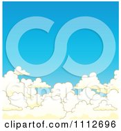 Clipart Background Of Blue Sky Above Puffy Clouds Royalty Free Vector Illustration