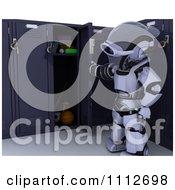 Clipart 3d Robot Opening His School Locker Royalty Free CGI Illustration