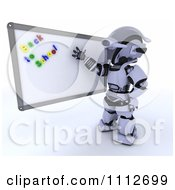 3d Robot Teacher Presenting A White Board With Back To School Magnets