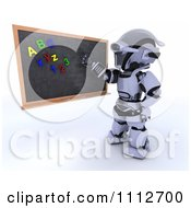 Clipart 3d Robot Teacher Presenting A Black Board With Letter And Number Magnets Royalty Free CGI Illustration by KJ Pargeter