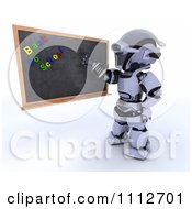 Clipart 3d Robot Teacher Presenting A Black Board With Back To School Magnets Royalty Free CGI Illustration