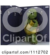 Clipart 3d Tortoise Thinking By His School Locker Royalty Free CGI Illustration