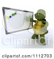 3d Tortoise Teacher Presenting A White Board With Physics Magnets
