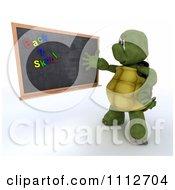 Clipart 3d Tortoise Teacher Presenting A Black Board With Back 2 Skool Magnets Royalty Free CGI Illustration
