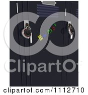 Clipart 3d Magnets On School Lockers With Locks Royalty Free CGI Illustration by KJ Pargeter