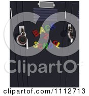 Clipart 3d Colorful Back To School Magnets On Lockers With Locks Royalty Free CGI Illustration