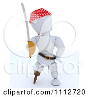 Clipart 3d White Character Pirate With A Peg Leg And Sword Royalty Free CGI Illustration by KJ Pargeter