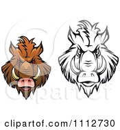 Clipart Black And White And Colored Angry Boar Heads Royalty Free Vector Illustration by Seamartini Graphics