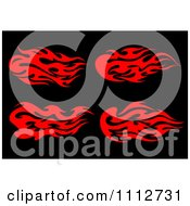 Clipart Red Tribal Flames Design Elements On Black 1 Royalty Free Vector Illustration