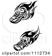 Clipart Flaming Trainer Shoes In Black And White Royalty Free Vector Illustration