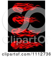 Clipart Red Tribal Flames Design Elements On Black 2 Royalty Free Vector Illustration