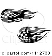 Clipart Black And White Tribal Checkered Racing Flags 5 Royalty Free Vector Illustration