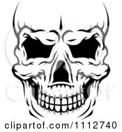 Clipart Black And White Human Skull Close Up And Cropped Royalty Free Vector Illustration